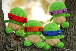 Chibi Ninja Turtles Amigurumi by cyellow