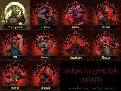 Darkest Dungeon Style Portraits - Set 1 by RedDyeNo5