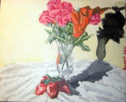 Flowers and Strawberries Stilll Life by XavierDiemert