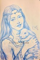 Portrait of elven Lady and your rabbit puppy by Cris-Nicola
