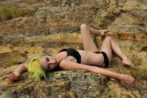 black lingerie on rocks by KateEllenF