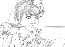 Kyudo (lineart) by Conzy94