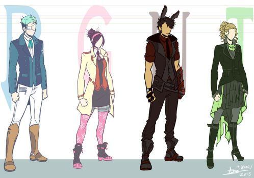 RWBY OCs - Special Unit RGNT - Costume Designs by mangarainbow
