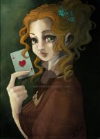 Lady with card by MilkyNeko