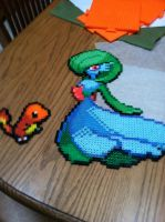 Perler Bead Gardevoir and Charmander by Idellechi