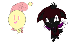Rutabaga the Chao and Dark Gaia .Chip form. by ShadowUkelover