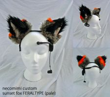 necomimi custom ears SUNSET FOX FERALTYPE by plushabilities