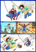 Luffy meet Spiderman by heivais