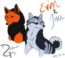 Evin and Inu by iRaynebow