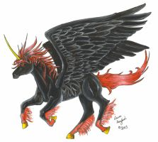 Red and Black Pegasus by dragonphysic