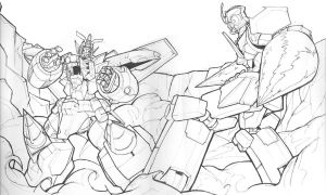 -sketch- GGG VS Gurran Lagann by Blitz-Wing