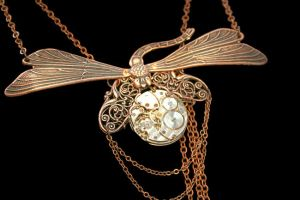 Steampunk Necklace Dragonfly Time of Flight by byrdldy