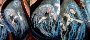 Bowl with Three Norns (detail 03) by Edita-Woodcarver