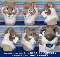 Brewster the Sabertoothed Tiger - Head by LobitaWorks