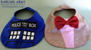 TARDIS and Matt Smith Doctor Who Baby Bibs by DarlingArmy
