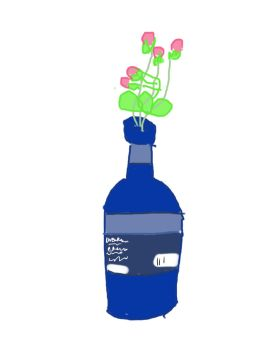 Bottle with flowers by Anira
