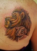 Lion and Lamb tattoo colored by VanZanto