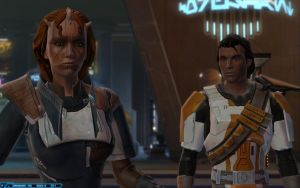 SWTOR Coruscant - Barala'loren and Corso Riggs by chicksaw2002