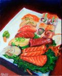 Acrylic  delicious sushi by dolls-of-paradox