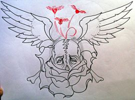 winged skull by eexell