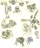 Sketchbook doodles - bird boys and other critters by Pandadrake
