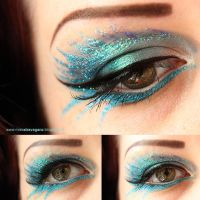 Blue Glitter Makeup by MissVonXtravaganz