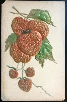 Strawberries - Vintage Embossed Postcard by KarRedRoses