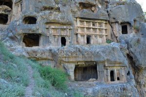 Stock Christian tombs carved out of mountain by slowdownsally