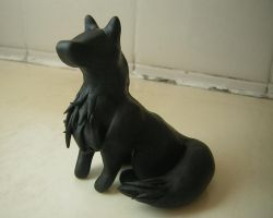Black Wolf Sculpture by Pinkfirefly135