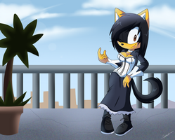 Michelle on the balcony Commission by Domestic-hedgehog