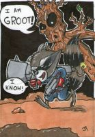 Rocket and Groot sketch card by johnnyism