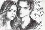 Elena n Damon Sketch by Catluckey