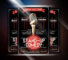 Vintage Stand-Up Comedy Flyer by afizs