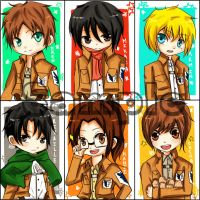 Attack On Titan Keychains by Shu-Ai