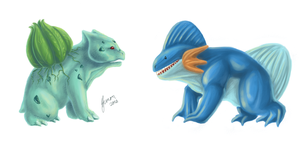 Bulbasaur and Mudkip by ShadeofShinon