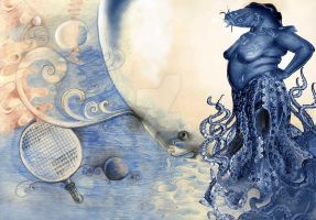 The octopus and air bubble by Galal-Art