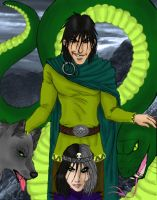 Loki with his kids by TheHellcow
