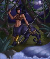 Huntress in the forest by ebony-chan