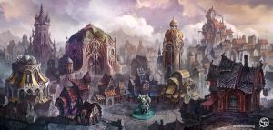 Market square of the Mist City by DinoDrawing