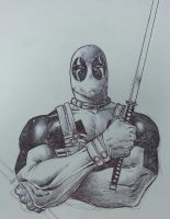 ball point pen dead pool work in progress by Sajad126