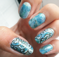 Blue Curl Nail art by xRixt