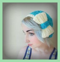Turquoise Crochet Beret Hat With White Bow by Ashler-Sauce