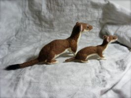 Needle Felted Weasels by CVDart1990