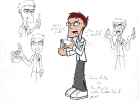 Angry Video Game Nerd sketches by kojikatsuya