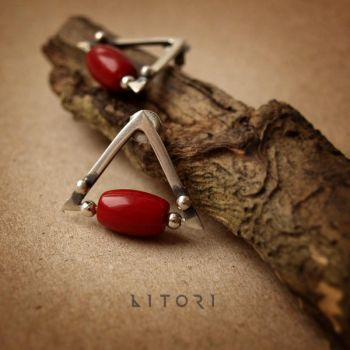 PIROS - silver earrings with coral by Litori by litori