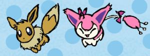 Skitty and Eevee Pen Colored by sunnyfish