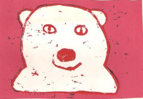 Polar Bear (Red on White w/ Red BG) by gpsc
