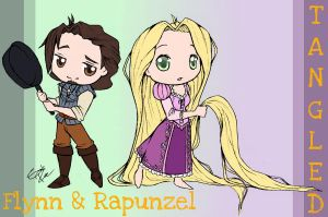 Chibi Flynn and Rapunzel by SakiRee