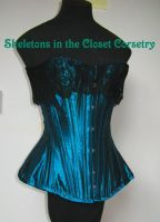 1891 blue silk corset by BlackvelvetSITC
