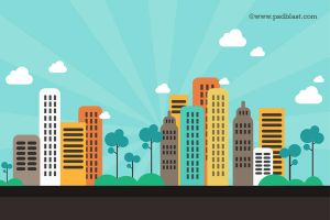 Flat Color Abstract City Background (PSD) by psdblast